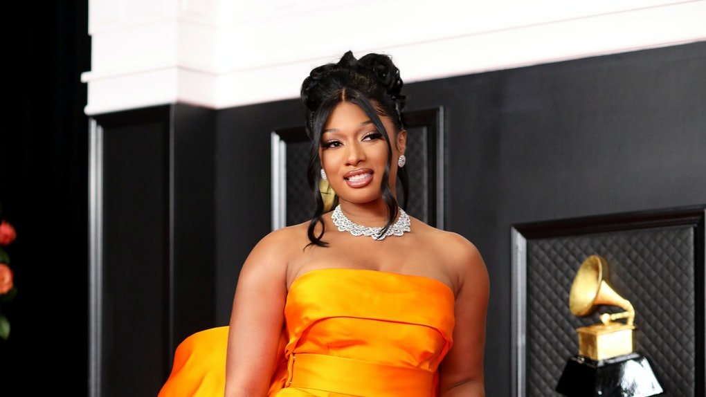 Los Angeles, CA - March 14:  Megan Thee Stallion on the red carpet at the 63rd Annual Grammy Awards, at the Los Angeles Convention Center, in downtown Los Angeles, CA, Wednesday, Mar. 14, 2021. (Jay L. Clendenin / Los Angeles Times via Getty Images)