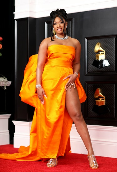Los Angeles, CA - March 14:  Megan Thee Stallion on the red carpet at the 63rd Annual Grammy Awards,...