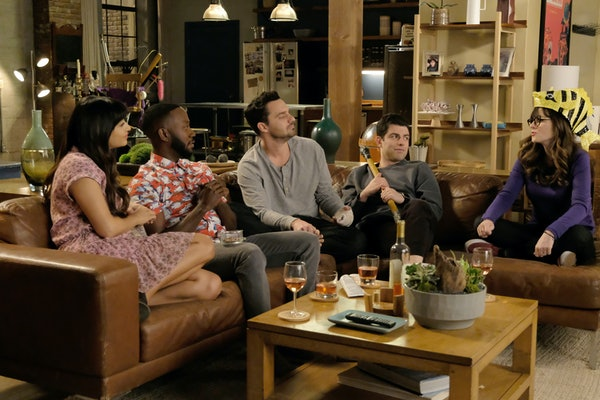 """NEW GIRL:  L-R:  Hannah Simone, Lamorne Morris, Jake Johnson, Max Greenfield and Zooey Deschanel in """"Engram Pattersky,"""" the second part of the special one-hour series finale episode of NEW GIRL, airing Tuesday, May 15 (9:30-10:00 PM ET/PT) on FOX.  (Photo by FOX Image Collection via Getty Images)"""