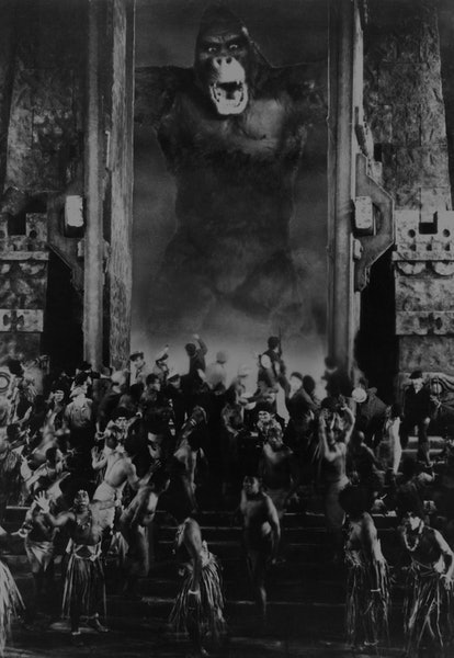 The giant ape terrorises the village on Skull Island in the movie 'King Kong', 1933. (Photo by Silve...