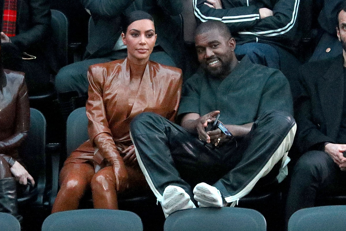 PARIS, FRANCE - MARCH 01: (EDITORIAL USE ONLY) Kim Kardashian and Kanye West attend the Balenciaga s...