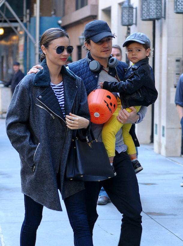 NEW YORK, NY - OCTOBER 28:  Miranda Kerr, Orlando Bloom and Flynn Bloom are seen on October 28, 2013 in New York City.  (Photo by NCP/Star Max/FilmMagic)