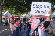 Supporters of US President Donald Trump protest in Los Angeles, California, on January 6, 2021. - Tr...