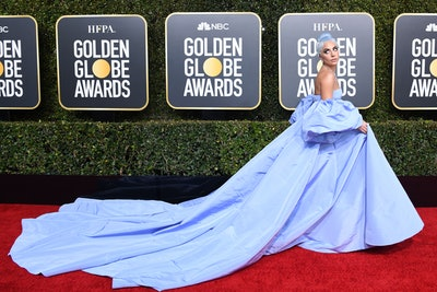 """TOPSHOT - Best Actress in a Motion Picture  Drama for """"A Star is Born"""" nominee Lady Gaga arrives for the 76th annual Golden Globe Awards on January 6, 2019, at the Beverly Hilton hotel in Beverly Hills, California. (Photo by VALERIE MACON / AFP) (Photo by VALERIE MACON/AFP via Getty Images)"""
