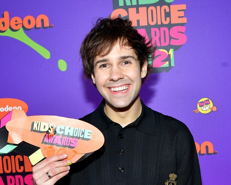 SANTA MONICA, CALIFORNIA - MARCH 13: In this image released on March 13, David Dobrik attends Nickelodeon's Kids' Choice Awards at Barker Hangar on March 13, 2021 in Santa Monica, California. (Photo by Matt Winkelmeyer/KCA2021/Getty Images for Nickelodeon)