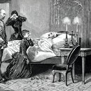 Rudolf suffered from severe mood swings. Presumably he committed suicide on the night of January 29th to 30th, 1889 in Mayerling Castle by shooting in the head. Illustration from 19th century