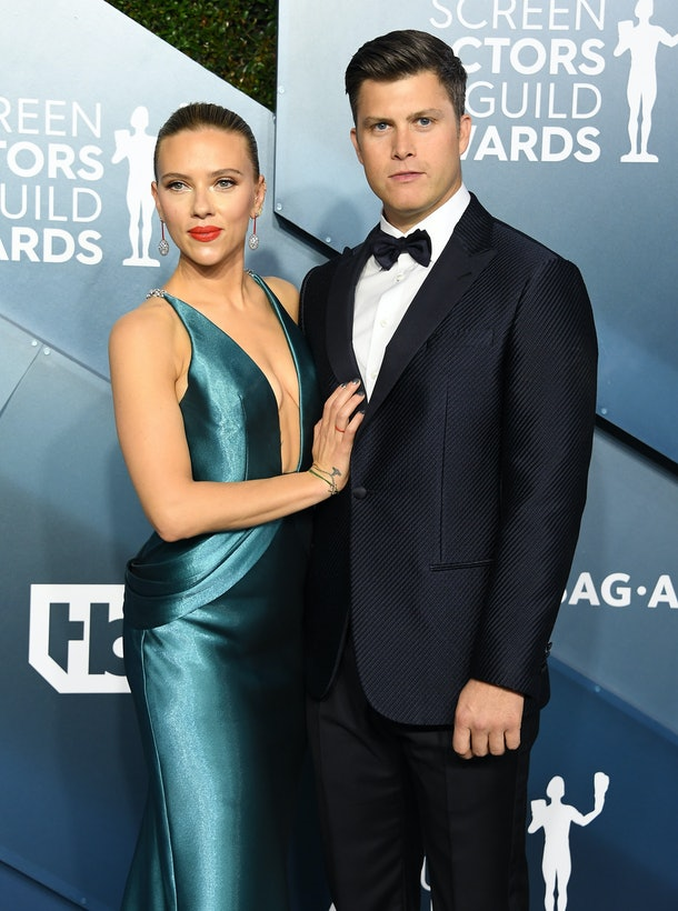LOS ANGELES, CALIFORNIA - JANUARY 19: Scarlett Johansson and Colin Jost arrives at the 26th Annual Screen ActorsGuild Awards at The Shrine Auditorium on January 19, 2020 in Los Angeles, California. (Photo by Steve Granitz/WireImage)