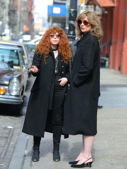 NEW YORK, NY - MARCH 25: Natasha Lyonne and Annie Murphy are seen at the film set of the 'Russian Doll' TV Series on March 25, 2021 in New York City.  (Photo by Jose Perez/Bauer-Griffin/GC Images)