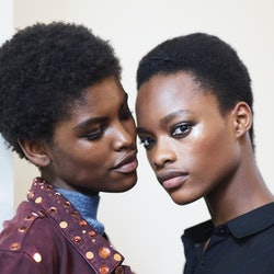Models Amilna Estevão (L) and Mayowa Nicholas (R) poses prior the Balmain show as part of the Paris Fashion Week Womenswear  Spring/Summer 2017  on September 29, 2016 in Paris, France.