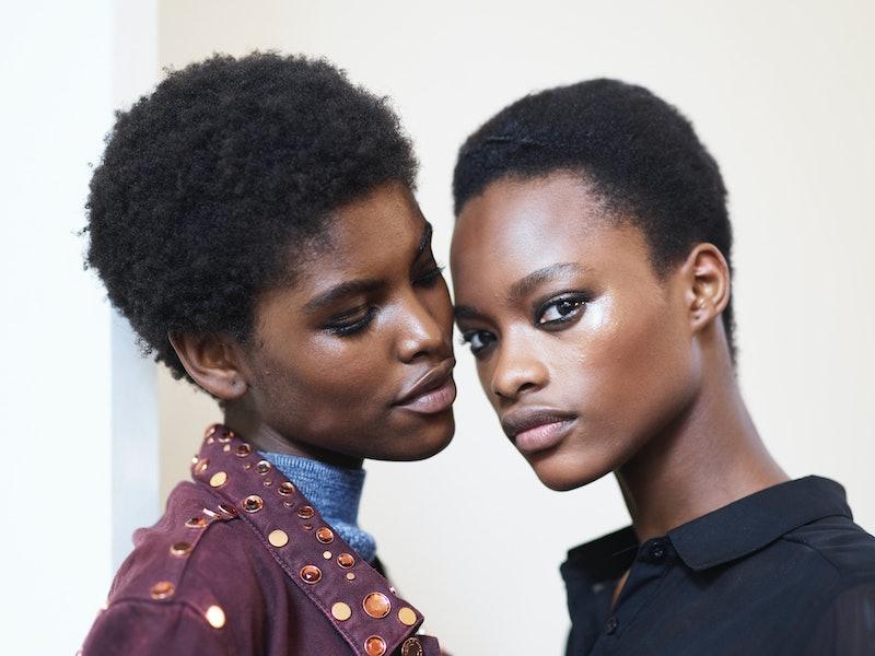 Models Amilna Estevão (L) and Mayowa Nicholas (R) poses prior the Balmain show as part of the Paris Fashion Week Womenswear  Spring/Summer 2017  on September 29, 2016 in Paris, France.