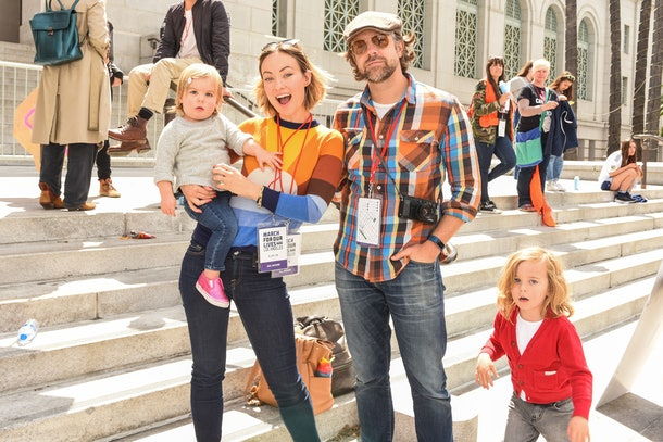 LOS ANGELES, CA - MARCH 24:  Olivia Wilde, Jason Sudeikis and Otis Sudeikis, Daisy Sudeikis attends March For Our Lives Los Angeles on March 24, 2018 in Los Angeles, California.  (Photo by Presley Ann/WireImage)