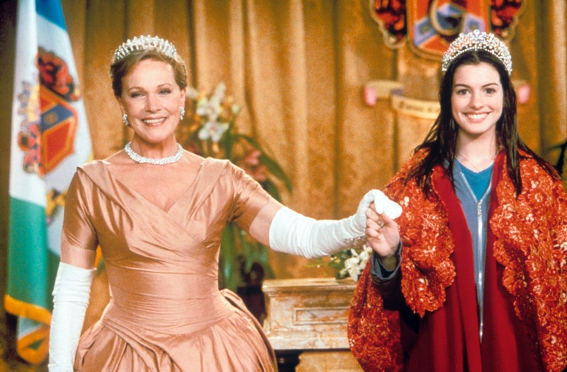 The British actress Julie Andrews, the pseudonym of Julia Elizabeth Wells,wearing a crown and an eve...