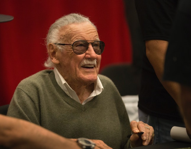 Marvel Comics icon Stan Lee signs autographs during the inaugural Silicon Valley Comic Con, founded by Apple co-founder Steve Wozniak, at the San Jose McEnery Convention Center in San Jose, Calif., Saturday, March 18, 2016.  (Patrick Tehan/Bay Area News Group) (Photo by MediaNews Group/Bay Area News via Getty Images)