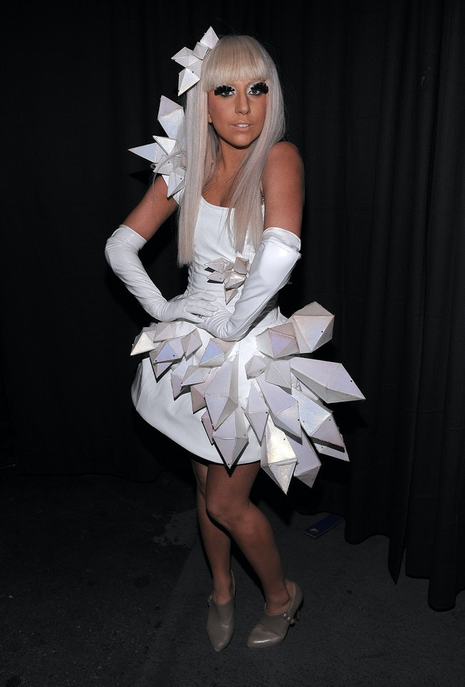(EXCLUSIVE, Premium Rates Apply) NEW YORK - DECEMBER 12:  Singer Lady GaGa poses backstage during Z100's Jingle Ball 2008 Presented by H&M at Madison Square Garden on December 12, 2008 in New York City. *EXCLUSIVE*  (Photo by Dimitrios Kambouris/WireImage for Clear Channel)