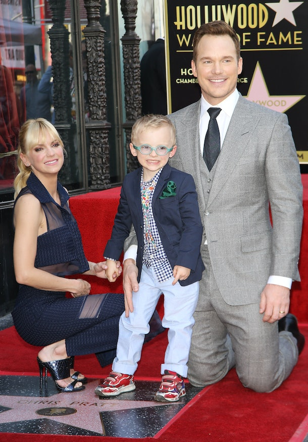 HOLLYWOOD, CA - APRIL 21:  Chris Pratt with Anna Faris and son, Jack attend the ceremony honoring Chris Pratt with a Star on The Hollywood Walk of Fame held on April 21, 2017 in Hollywood, California.  (Photo by Michael Tran/FilmMagic)