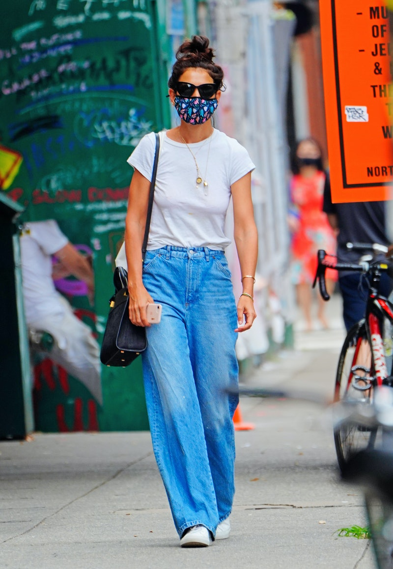 NEW YORK, NEW YORK - JULY 17: Katie Holmes wears a white top with denim jeans when out and about on July 17, 2020 in New York City. (Photo by Gotham/GC Images)
