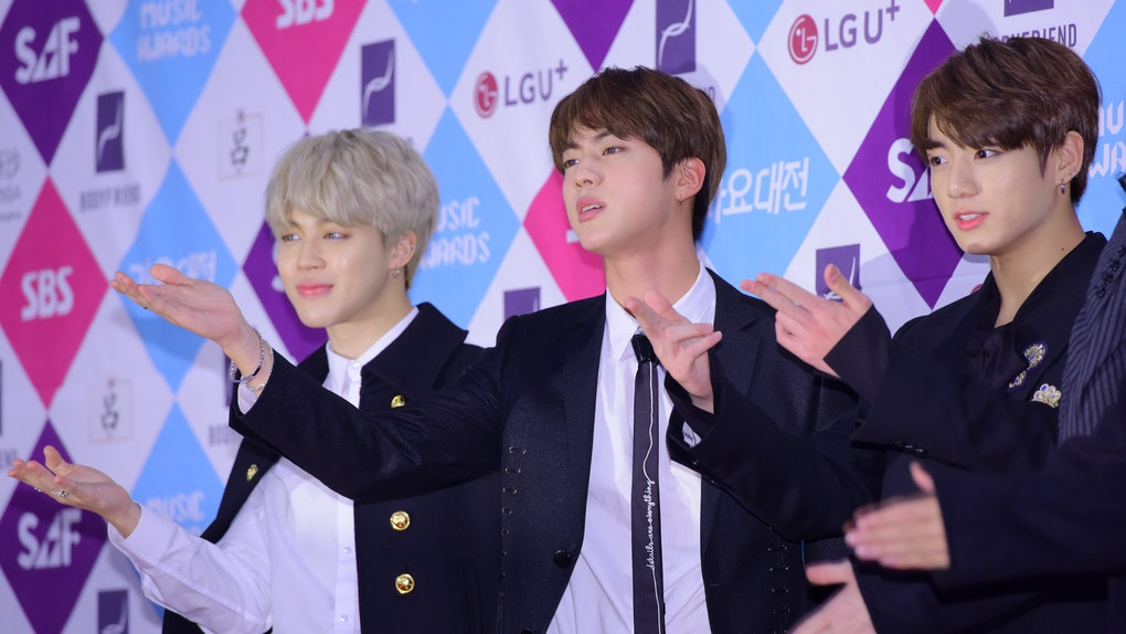 SEOUL, SOUTH KOREA - DECEMBER 26: Jimin, Jin and Jungkook of BTS attend the 2016 SAF Gayo Daejeon at COEX on December 26, 2016 in Seoul, South Korea. (Photo by The Chosunilbo JNS/Imazins via Getty Images)