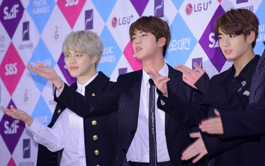 SEOUL, SOUTH KOREA - DECEMBER 26: Jimin, Jin and Jungkook of BTS attend the 2016 SAF Gayo Daejeon at...