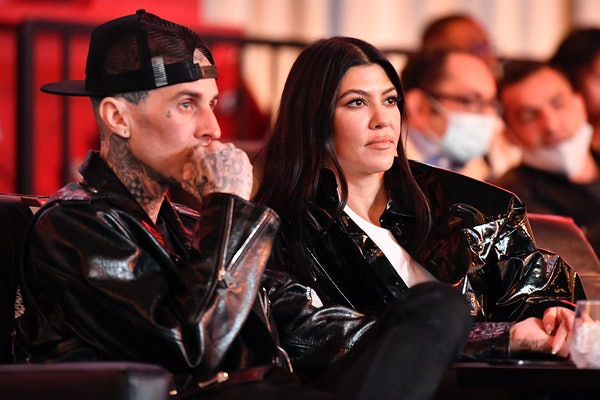 LAS VEGAS, NEVADA - MARCH 27: Travis Barker and Kourtney Kardashian are seen in attendance during the UFC 260 event at UFC APEX on March 27, 2021 in Las Vegas, Nevada. (Photo by Chris Unger/Zuffa LLC)