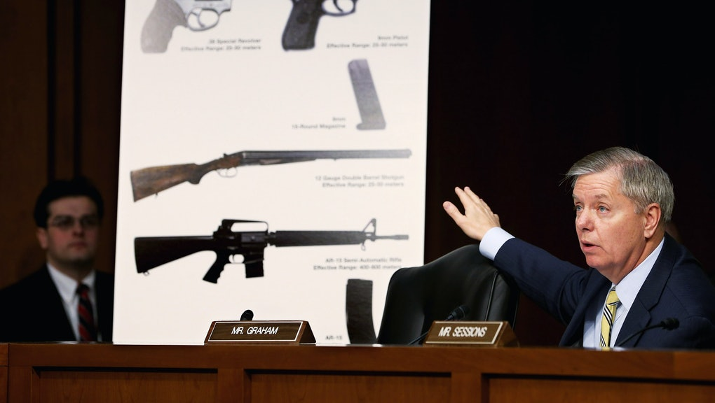 WASHINGTON, DC - JANUARY 30:  Senate Judiciary Committee member Sen. Lindsey Graham (R-SC) uses imagees of handguns and rifles during a hearing about gun control on Capitol Hill January 30, 2013 in Washington, DC. Shooting victim and former U.S. Rep. Gabby Giffords (D-AZ) delivered an opening statment to the committee, which met for the first time since the mass shooting at a Sandy Hook Elementary School in Newtown, Connecticut.  (Photo by Chip Somodevilla/Getty Images)