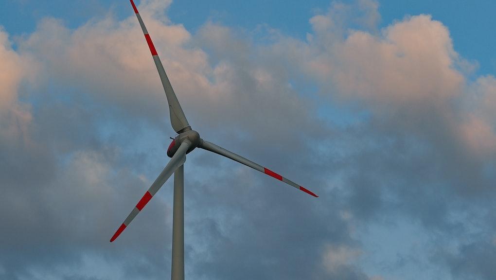26 March 2021, Brandenburg, Sieversdorf: A wind turbine in front of clouds. Photo: Patrick Pleul/dpa-Zentralbild/ZB (Photo by Patrick Pleul/picture alliance via Getty Images)