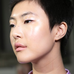MILAN, ITALY - SEPTEMBER 21:  Model Sohyun Jung is seen backstage ahead of the Blumarine show during...