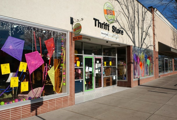 Fort Collins, Colorado, USA - April 20, 2014: The Brand Spanking Used thrift store in Fort Collins, Colorado. Thrift stores have seen a resurgence since the financial crisis of 2008 with people buying used to save money.