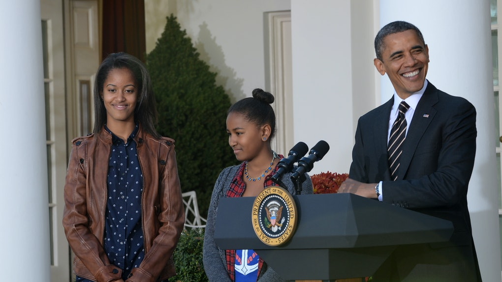 11/21/12- The White House- Washington, DC President Barack Obama and his daughters Malia and Sasha. photo: Christy Bowe - ImageCatcher News (Photo by ImageCatcher News Service/Corbis via Getty Images)