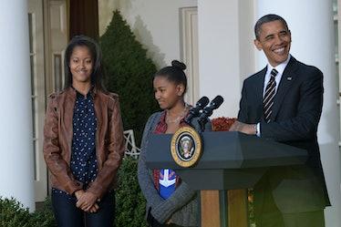 11/21/12- The White House- Washington, DC President Barack Obama and his daughters Malia and Sasha. ...