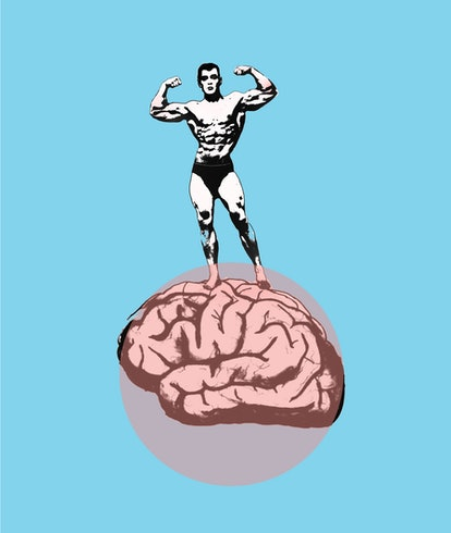 man flexing standing on brain illustration