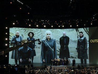 """The cast of """"Game of Thrones"""" celebrates the award Outstanding Drama series  onstage during the 70th..."""