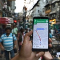 A user searches his destination via Google Maps in New Delhi India on 02 September 2019 (Photo by Nasir Kachroo/NurPhoto via Getty Images)