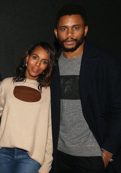 NEW YORK, NY - NOVEMBER 26:  Kerry Washington and husband Nnamdi Asomugha pose at a screening for An...