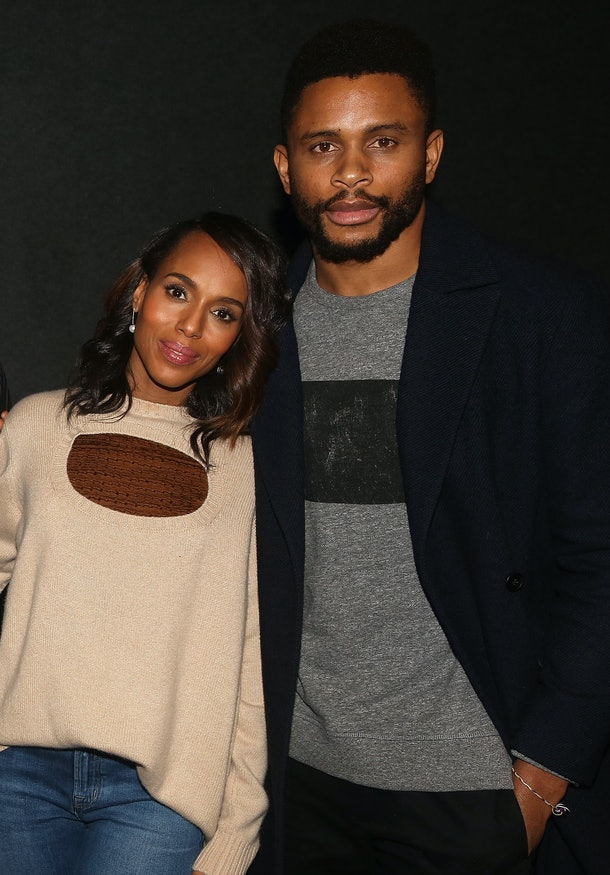 """NEW YORK, NY - NOVEMBER 26:  Kerry Washington and husband Nnamdi Asomugha pose at a screening for Annapurna Pictures film """"If Beale Street Could Talk"""" hosted by Kerry Washington at Landmark 57 Theatre on November 26, 2018 in New York City.  (Photo by Bruce Glikas/Getty Images)"""