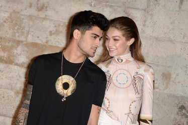 PARIS, FRANCE - OCTOBER 02:  Zayn Malik and Gigi Hadid attend  the  Givenchy show as part of the Par...