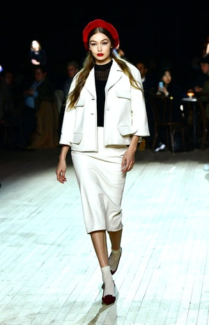 NEW YORK, NEW YORK - FEBRUARY 12: Gigi Hadid walks the runway at the Marc Jacobs Fall 2020 runway show during New York Fashion Week on February 12, 2020 in New York City. (Photo by Slaven Vlasic/Getty Images for Marc Jacobs)