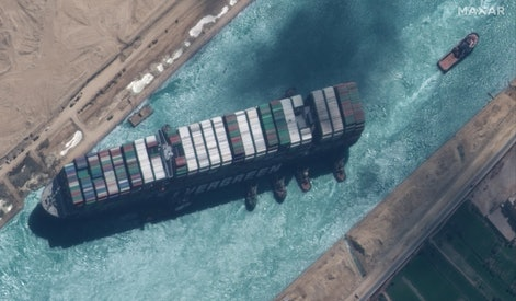 STUCK SHIP EVER GIVEN, SUEZ CANAL -- MARCH 29, 2021:  Maxar new high-resolution satellite imagery of...