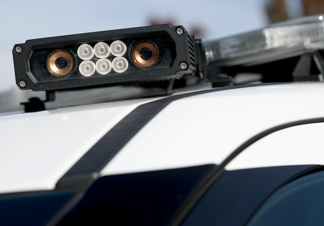 One of three license plate reader cameras mounted to the roof of a patrol vehicle is photographed at the police station in Dublin Calif., on Nov. 22, 2017. Dublin is currently considering expanding its license reading equipment. (Anda Chu/Bay Area News Group) (Photo by MediaNews Group/Bay Area News via Getty Images)