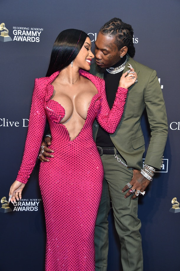 """BEVERLY HILLS, CALIFORNIA - JANUARY 25: (EDITOR'S NOTE: Image contains partial nudity) (L-R) Cardi B and Offset attend the Pre-GRAMMY Gala and GRAMMY Salute to Industry Icons Honoring Sean """"Diddy"""" Combs on January 25, 2020 in Beverly Hills, California. (Photo by Gregg DeGuire/Getty Images for The Recording Academy)"""