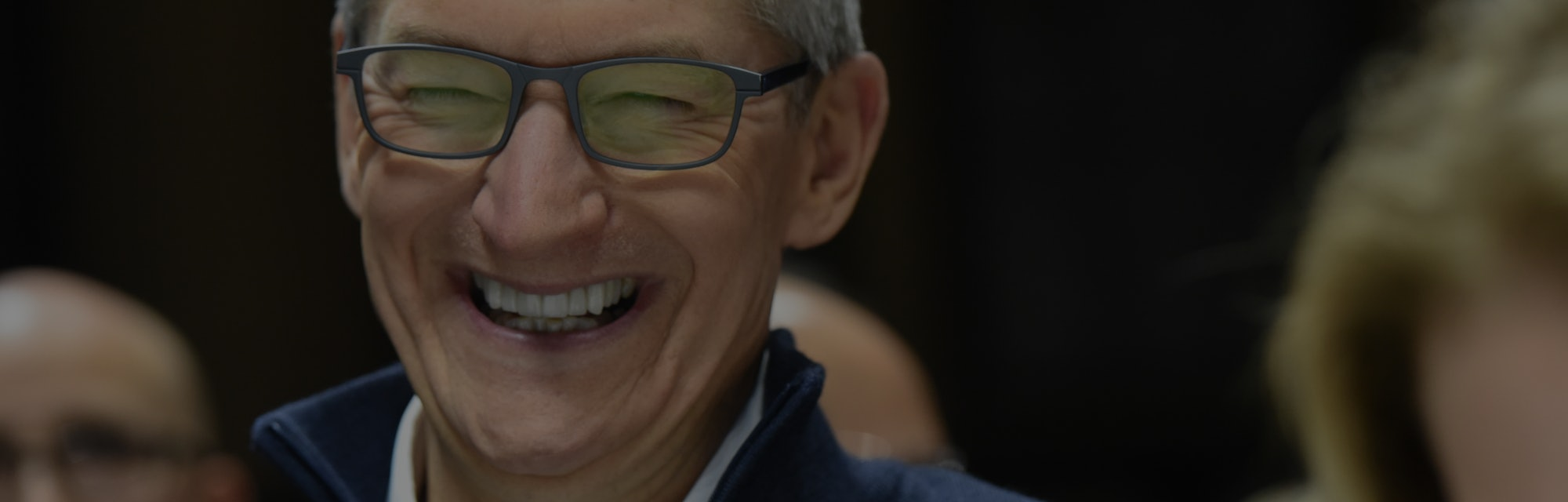 NEW YORK, NY - OCTOBER 30: Tim Cook, CEO of Apple, laughs during a launch event unveiling new produc...