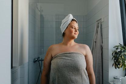 women in towel after shower