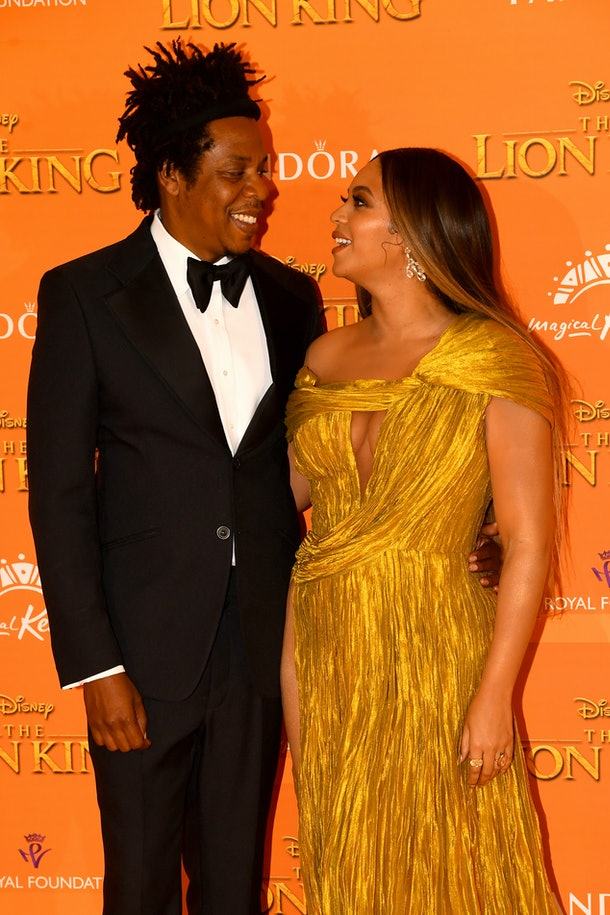 """LONDON, ENGLAND - JULY 14: Jay Z and Beyonce Knowles-Carter attend """"The Lion King"""" European Premiere at Leicester Square on July 14, 2019 in London, England. (Photo by Dave J Hogan/Getty Images)"""