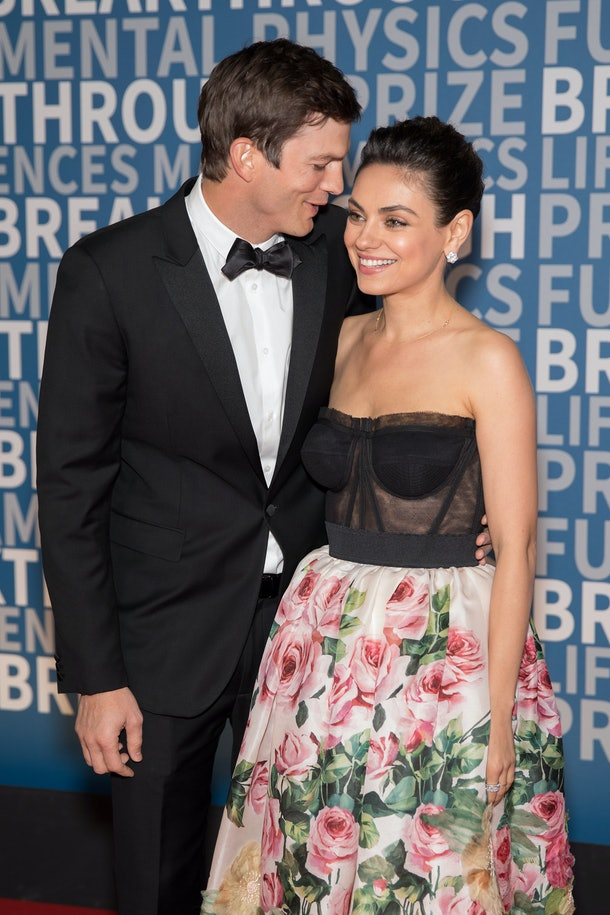 MOUNTAIN VIEW, CA - DECEMBER 03:  Actors Ashton Kutcher and Mila Kunis arrive at the 2018 Breakthrough Prize at NASA Ames Research Center on December 3, 2017 in Mountain View, California.  (Photo by Miikka Skaffari/Getty Images,)