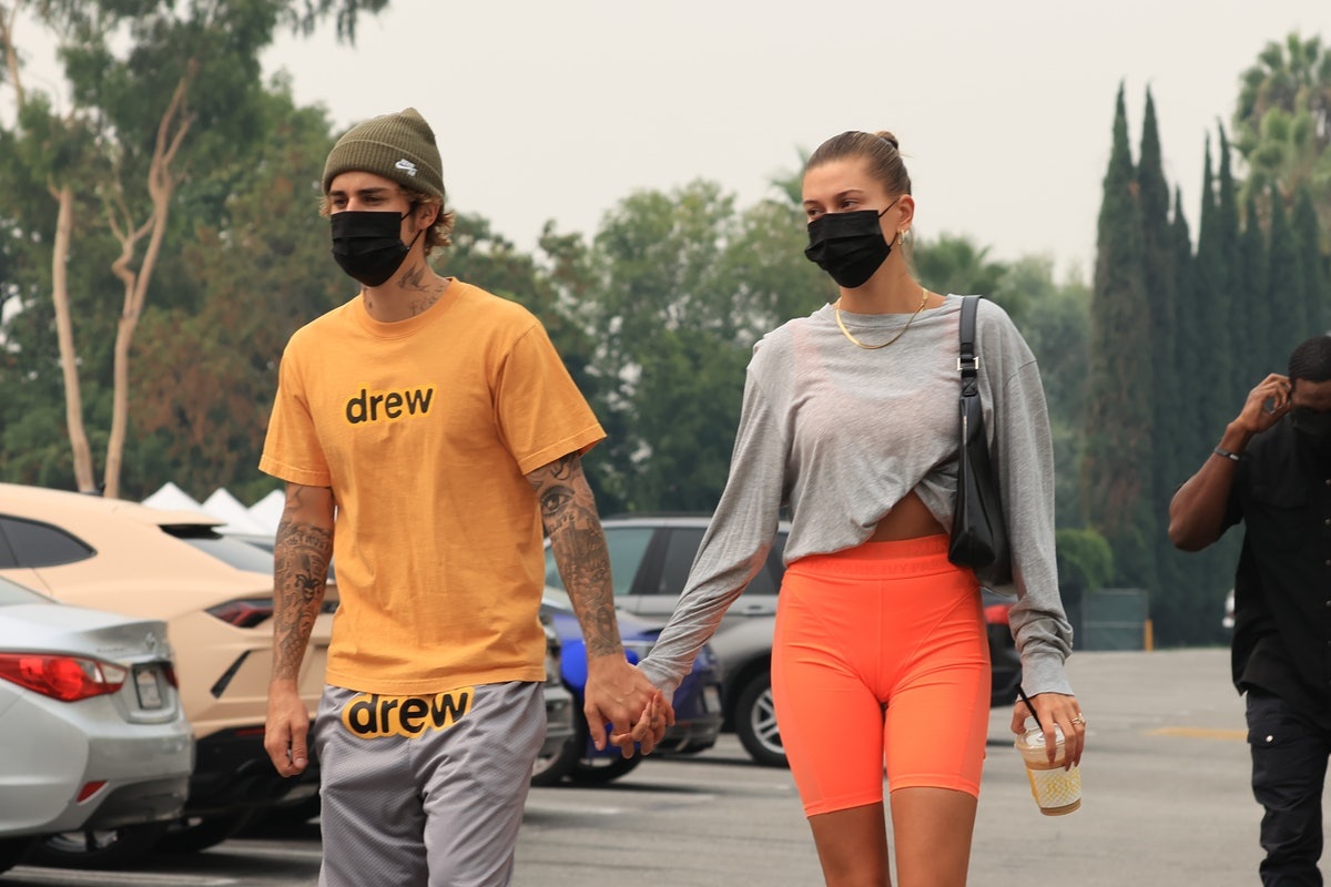 LOS ANGELES, CA - SEPTEMBER 12:  Justin Bieber and Hailey Bieber seen heading to hot yoga on September 12, 2020 in Los Angeles, California. (Photo by Rachpoot/MEGA/GC Images)
