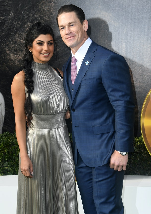 """WESTWOOD, CALIFORNIA - JANUARY 11: Shay Shariatzadeh and John Cena arrives at the Premiere Of Universal Pictures' """"Dolittle"""" at Regency Village Theatre on January 11, 2020 in Westwood, California. (Photo by Steve Granitz/WireImage)"""