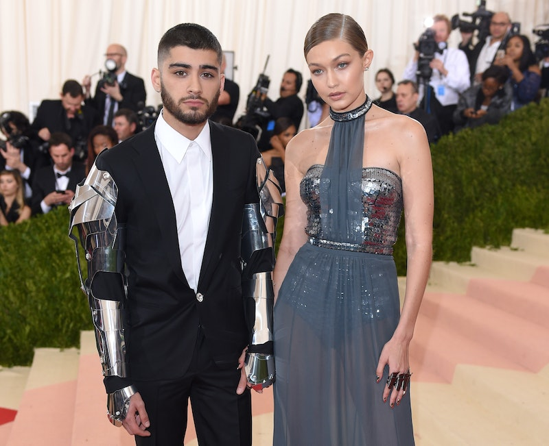 """NEW YORK, NY - MAY 02:  Gigi Hadid and Zayn Malik arrive for the """"Manus x Machina: Fashion In An Age Of Technology"""" Costume Institute Gala at Metropolitan Museum of Art on May 2, 2016 in New York City.  (Photo by Karwai Tang/WireImage)"""