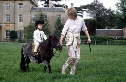 Prince William learns to ride at Highgrove Estate.
