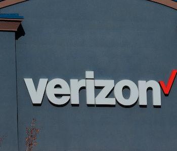 Close up of Verizon business logo on outside wall, northern Idaho. (Photo by: Don & Melinda Crawford...