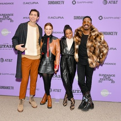 """PARK CITY, UTAH - JANUARY 24: (L-R) Nicholas Braun, Riley Keough, Taylour Paige, and Colman Domingo attend the """"Zola"""" premiere during the 2020 Sundance Film Festival at Eccles Center Theatre on January 24, 2020 in Park City, Utah. (Photo by Dia Dipasupil/Getty Images)"""
