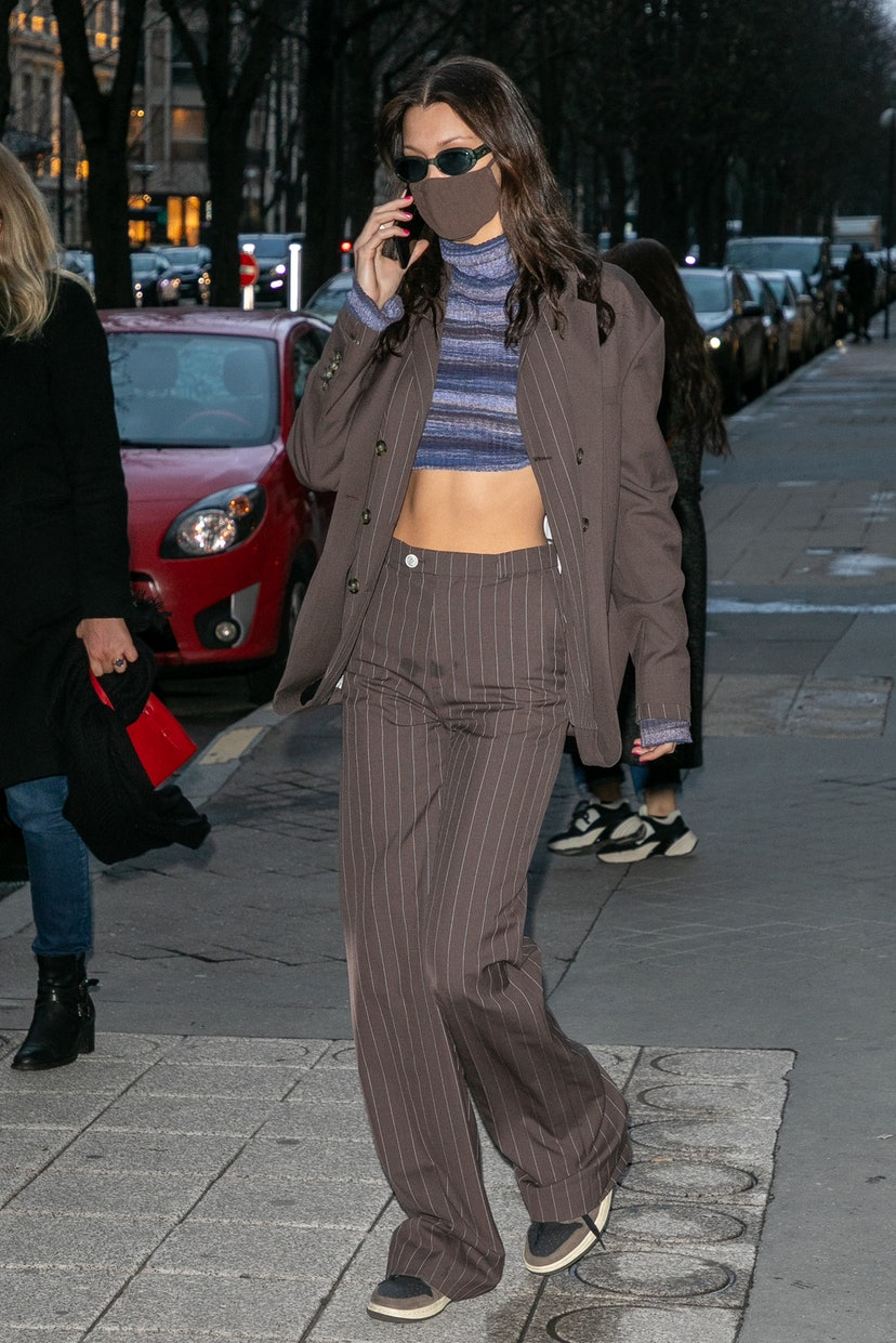 PARIS, FRANCE - MARCH 04: Model Bella Hadid is seen on Avenue Montaigne on March 04, 2021 in Paris, France. (Photo by Marc Piasecki/GC Images)